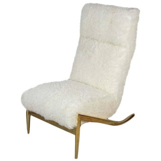 Paul Marra Slipper Chair in Brass with Curly Goat