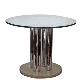 Vintage Chrome, Glass & Travertine Table