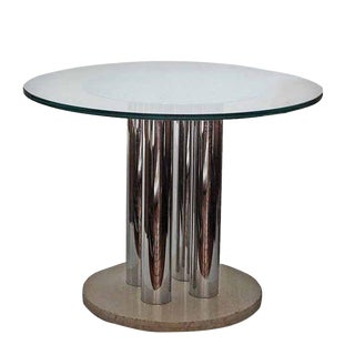 Vintage Chrome, Glass & Travertine Table