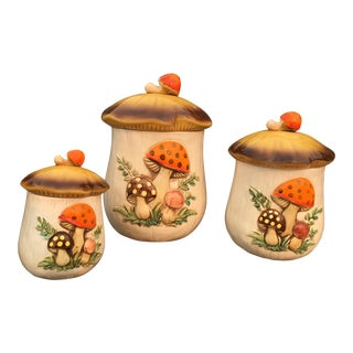 Vintage 70's Mushroom Ceramic Canisters - Set of 3