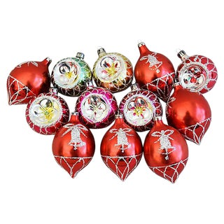 Fancy Christmas Ornaments w/Boxes - Set of 12
