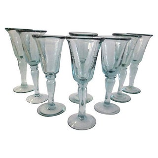 Mexican Blown Glass Goblets - Set of 8