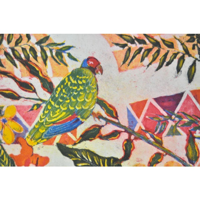 'Tropical Parrot' Colorful Monoprint - Image 3 of 8