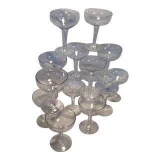 16 Vintage Hollow Stem Crystal Coupes Champagne Glasses