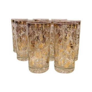 Gold Briard Glasses - Set of 8