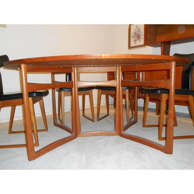 Arne Vodder for Sibast Gate Leg Teak Dining Table With 6 T-Back Black Leather Dining Chairs - Image 5 of 11