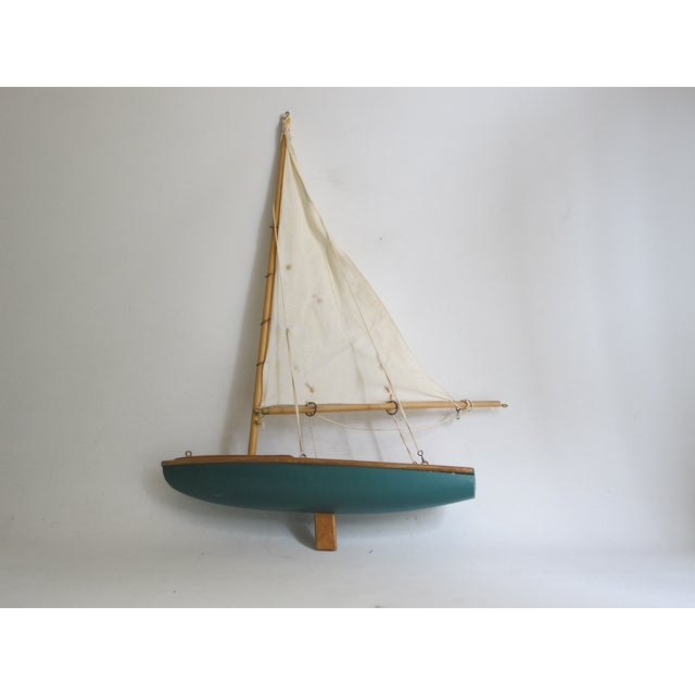 Image of Handmade Wooden Sailboat Model