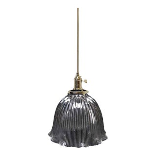 Holophane Prism Glass Globe Shade Pendant Light