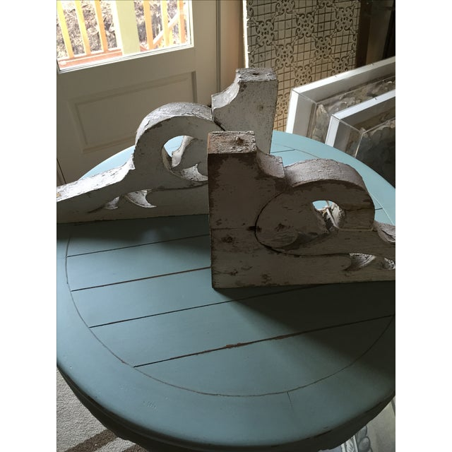 Distressed White Shelf Brackets- A Pair - Image 7 of 11