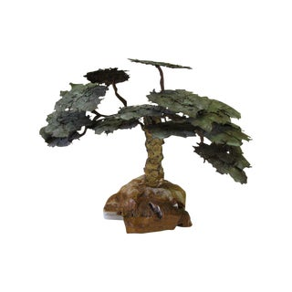 Copper and Stone Tree Sculpture