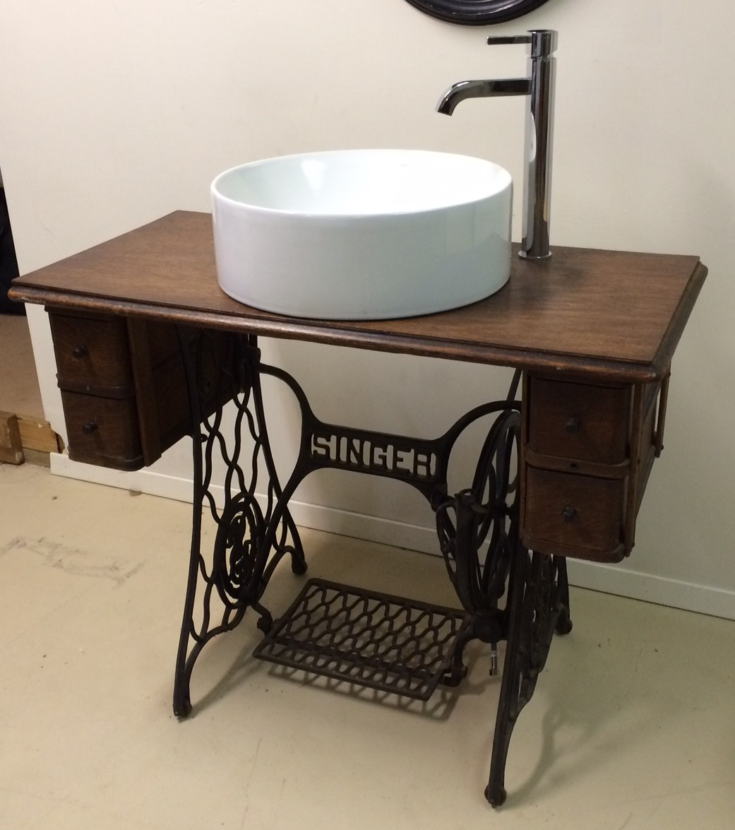 Singer Sewing Table Converted Bathroom Sink Vanity Chairish