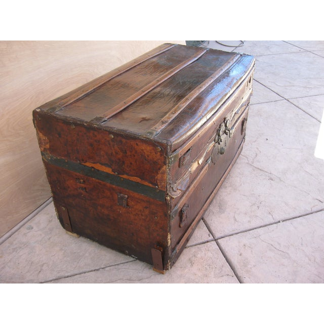 Antique Rustic Embossed Leather & Wood Trunk - Image 4 of 9