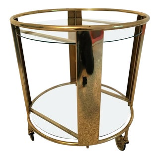 Italian Modernist Design Round Polished Brass Bar Cart