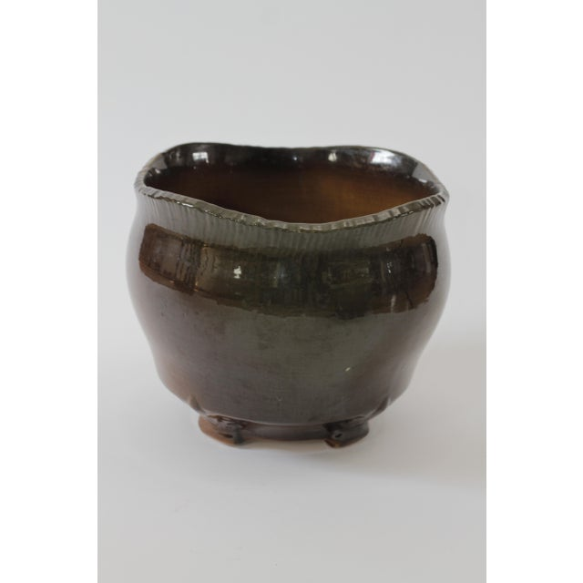 Vintage Brown Ceramic Footed Planter Cachepot Jardiniere With Leaves and Flowers - Image 3 of 11