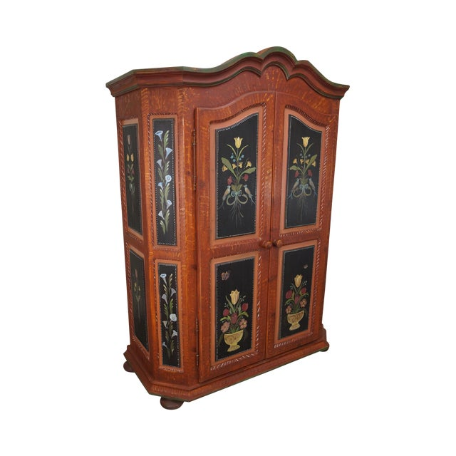French Style Hand Painted Armoire Cabinet - Image 1 of 10