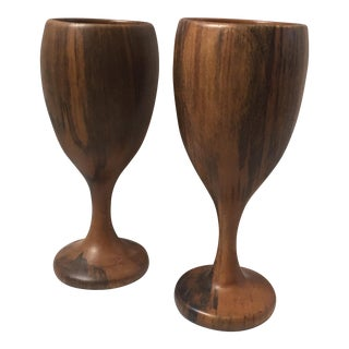 Striped Hardwood Haitian Goblets - A Pair