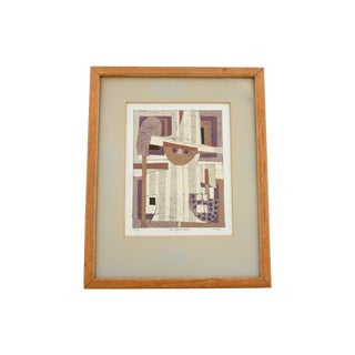 Signed 1960s Al Robi Lino-Cut Print