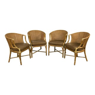 McGuire Cane Back Dining Chairs - Set of 4