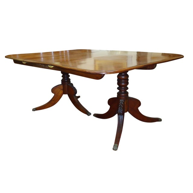 Vintage 1920s Walnut Double Pedestal Dining Table - Image 1 of 4