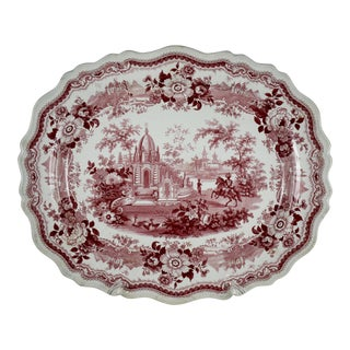 English Pink & White Transferware Exotic Landscape Platter