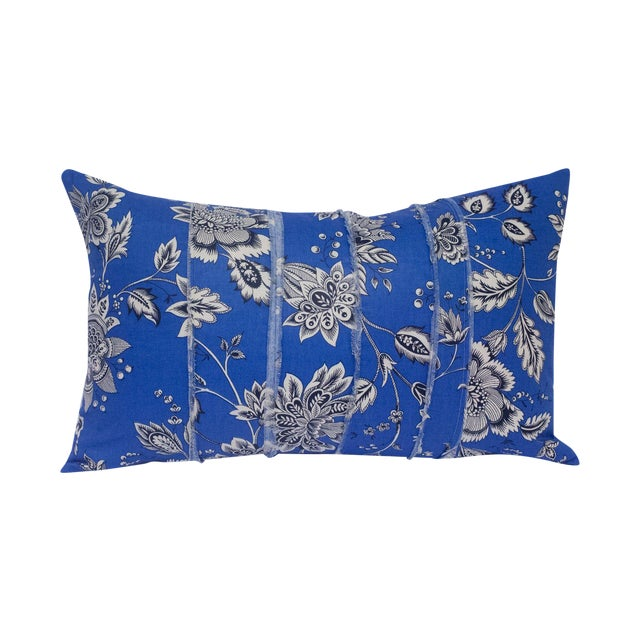 Image of Black & White Floral on Blue Accent Pillow