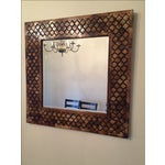 Image of Moroccan Lattice Trellis Bone & Wood Wall Mirror