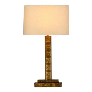 A charming table lamp created from antique leather books from France c.1940.