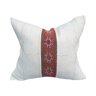 African Mudcloth Pillow with Tribal Inset