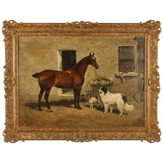Scene with Horse and two Dogs, 1894 by John Emms