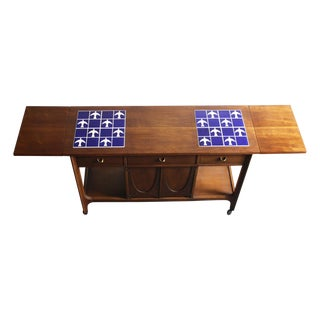 Broyhill Brasilia Walnut & Tile Inlay Serving Cart