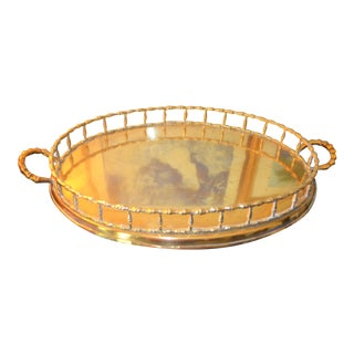 Hollywood Regency Brass Bamboo Tray