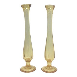 Mid-Century Petite Yellow Glass Bud Vases - A Pair