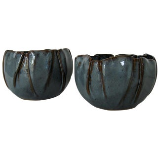 Soft-Pleated Ceramic Bowls - A Pair