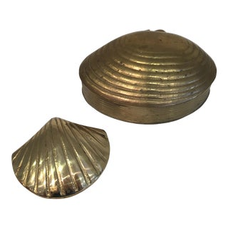 Brass Shell Boxes - A Pair