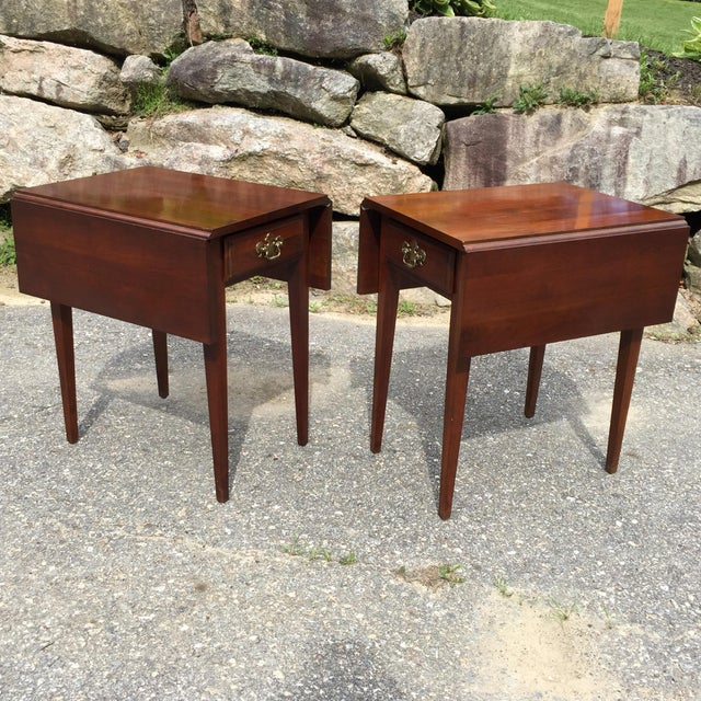 Cherry Drop Leaf End Tables - A Pair - Image 11 of 11