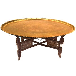 Vintage Moroccan Brass Tray Table with Stand