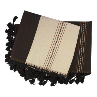 Oaxacan Handwoven Chocolate & Ivory Striped Blanket