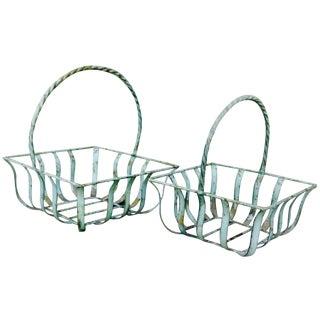Square Metal Baskets - A Pair