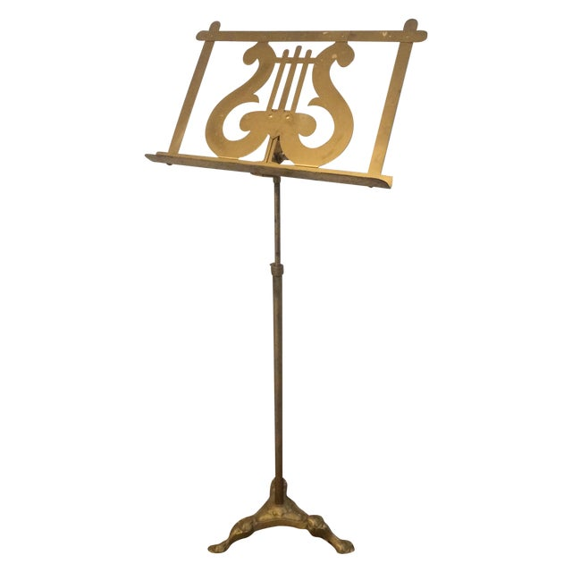 Vintage Neoclassical Brass Music Stand - Image 1 of 5