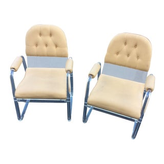 1970s Pace Style Modern Lucite Armchairs - A Pair