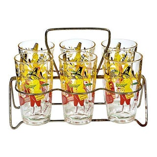 Dutch Scene Glasses with Carrier - Set of 6