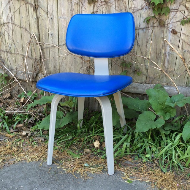 Blue Vinyl and Light Grey Thonet Side Chair - Image 2 of 5