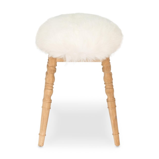 Sarreid LTD White Winoma Stool - Image 3 of 7
