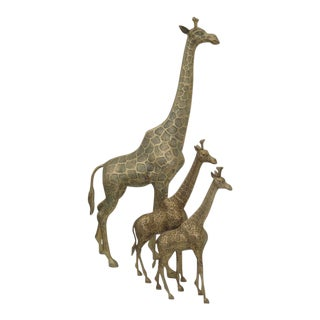 Brass Giraffe Family Sculpture