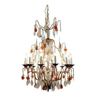 Vintage Venetian Murano Crystal Fruit Design Chandelier