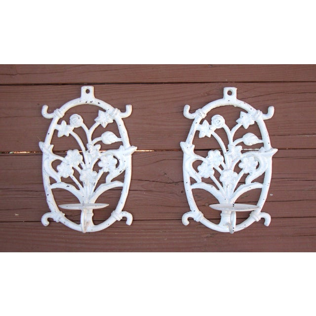 Painted White Cast Iron Floral Candle Sconces - 2 - Image 3 of 11