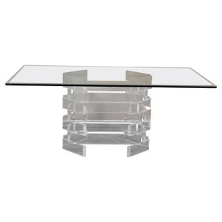 Modern Lucite Brick Pattern Dining Table