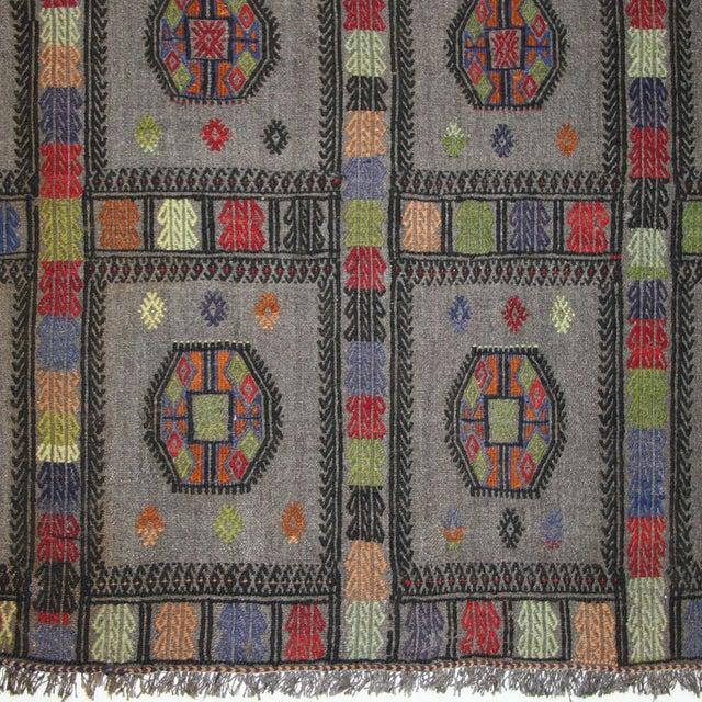 Image of Grey Vintage Turkish Flatweave Kilim - 4'5 X 6'1