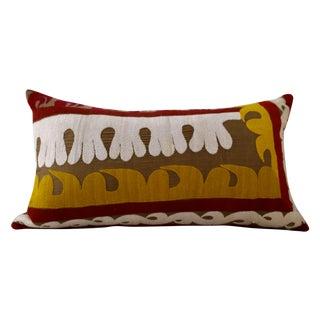 Silk Uzbek Suzani Lumbar Pillow
