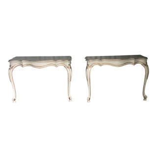 French Gilt Half Tables Demilune- a Pair